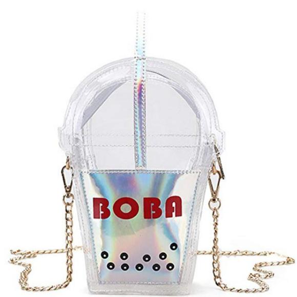 e89e3e8990 Boba Tea Holo Crossbody Irridecent Purse Bag CUTE NWT